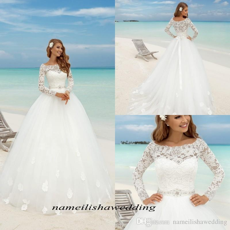 Cheap Plus Size Beach Wedding Dresses Best Of Discount Summer Beach Lace Wedding Dresses 2016 Elegant Scoop Neck Long Sleeves Sheer White Simple Tulle A Line Bridal Gowns Cheap Plus Size Chiffon