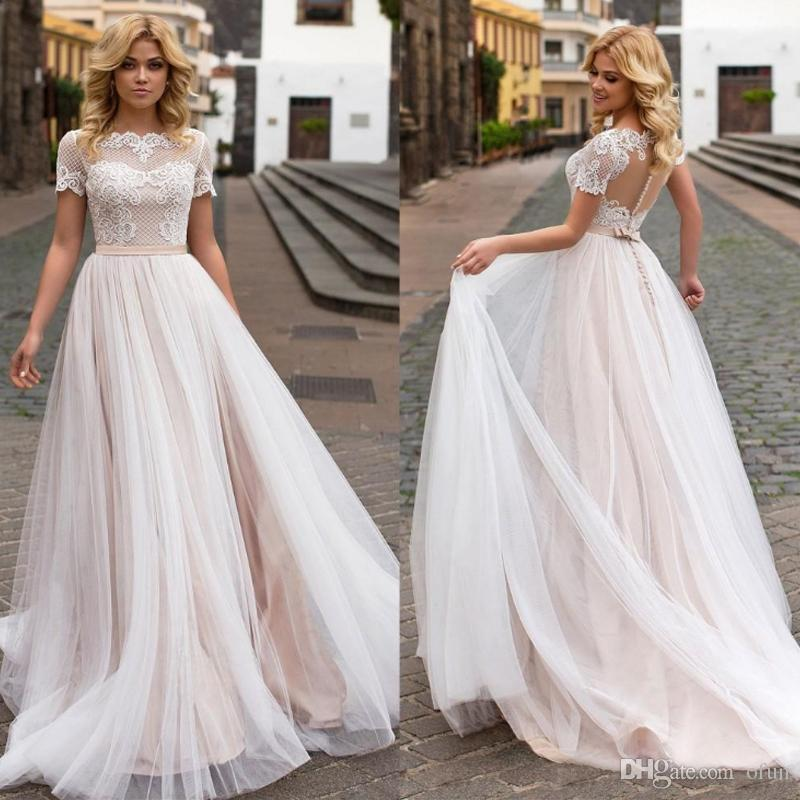 Cheap Plus Size Beach Wedding Dresses Best Of Plus Size Vintage Country Wedding Dresses A Line Short Sleeves Tulle Lace Bridal Gowns Beach Wedding Dresses