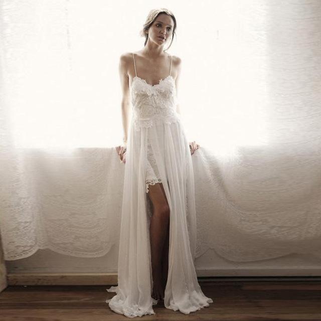 Cheap Plus Size Beach Wedding Dresses Luxury Bulk Discount Lorie Boho Wedding Dress 2019 Spaghetti Strap
