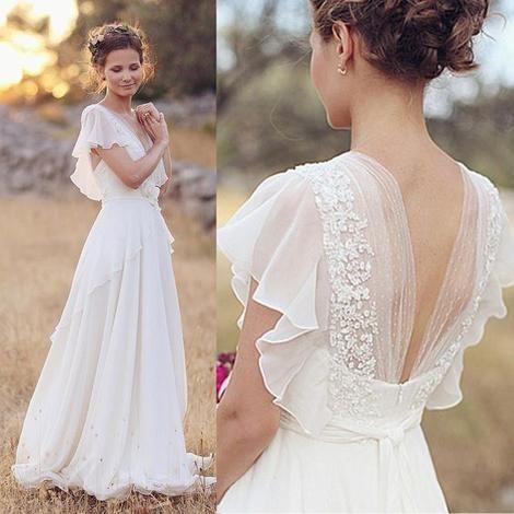 Cheap Plus Size Beach Wedding Dresses Luxury Cheap Plus Size Chiffon Country Wedding Dresses V Neck Back