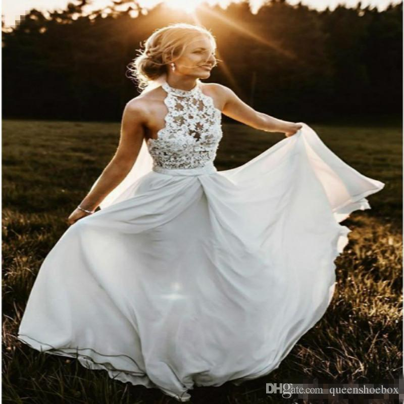 Cheap Plus Size Beach Wedding Dresses Unique Discount Summer Country Wedding Dresses High Neck top Lace Halter Full Length Chiffon Long Y Beach Boho Bridal Gowns Cheap Plus Size Under 100
