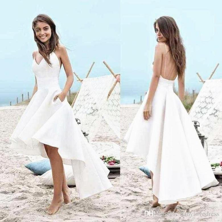 Cheap Summer Wedding Dresses New Cheap Summer High Low Beach A Line Wedding Dresses with Pockets Backless Spaghetti Strapssimple Short Front Long Back Bridal Gowns