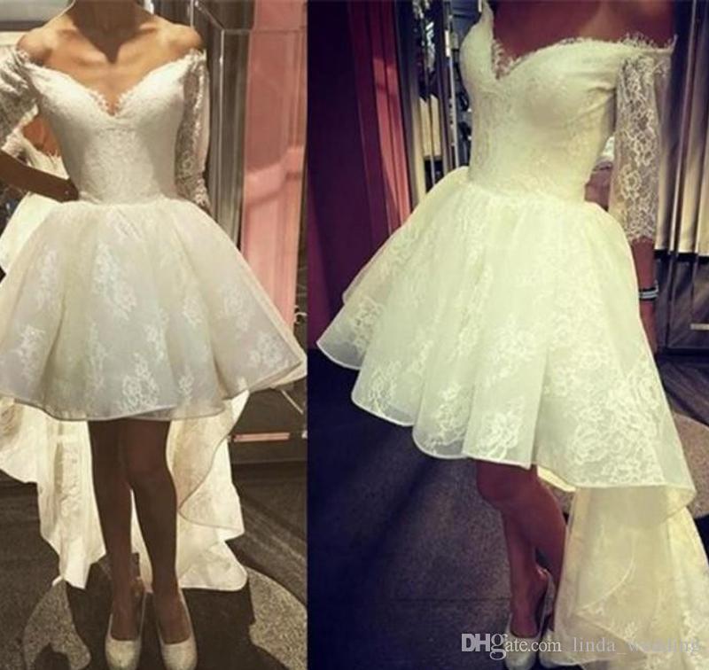 2018 dubai arabic high low wedding dress