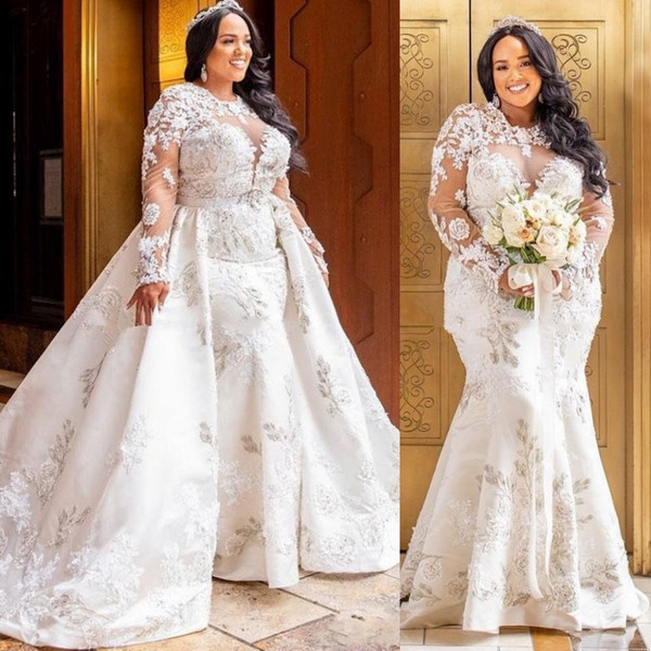 Cheap Wedding Dresses Plus Size Under 100 Dollars Best Of Modest Plus Size Wedding Dresses 2k19 Sheer Neckline Appliques Lace Satin Overskirt Wedding Dress Logn Sleeves African Mermaid Bridal Gowns Romantic