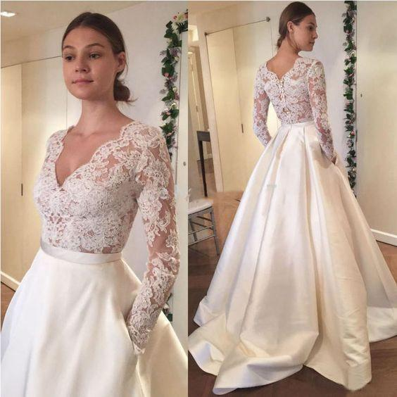Cheap Wedding Dresses Plus Size Under 100 Dollars Elegant Discount 2018 V Neck Princess Wedding Gowns Plus Size Illusion Long Sleeve See Through Designer with Pockets Satin Court Train Bridal Dresses Cheap