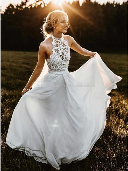 Cheap Wedding Dresses Plus Size Under 100 Dollars Inspirational Discount Summer Country Wedding Dresses High Neck top Lace Halter Full Length Chiffon Long Y Beach Boho Bridal Gowns Cheap Plus Size Under 100