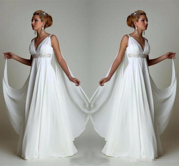 Cheap Wedding Dresses Plus Size Under 100 Dollars New Discount Simple Chiffon Empire Waist Beach Wedding Dresses Greek Modern V Neck Plus Size Bridal Gown Cheap Vestido Wedding Gowns Lace Bridal Gowns