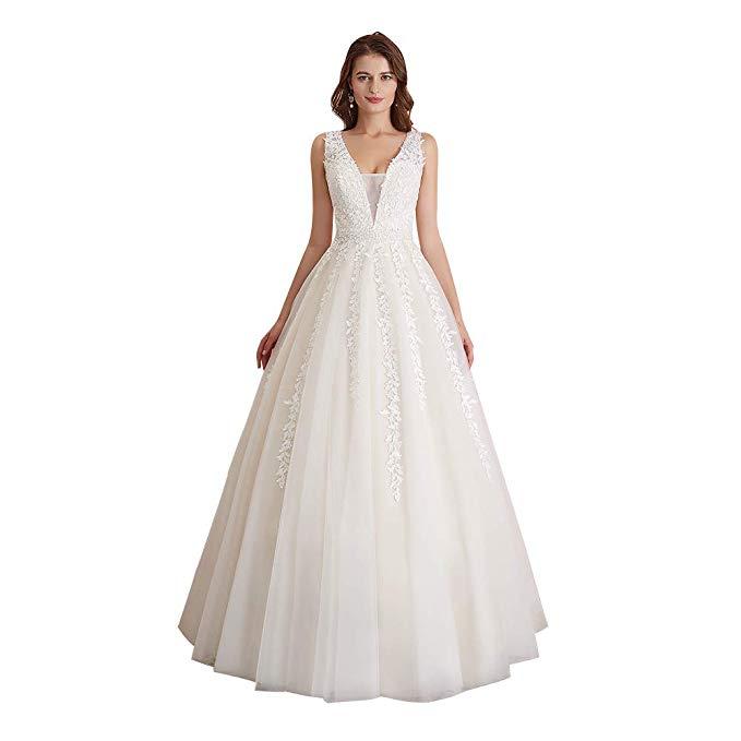 Cheap Wedding Dresses Plus Size Under 100 Dollars Unique Abaowedding Women S Wedding Dress for Bride Lace Applique evening Dress V Neck Straps Ball Gowns