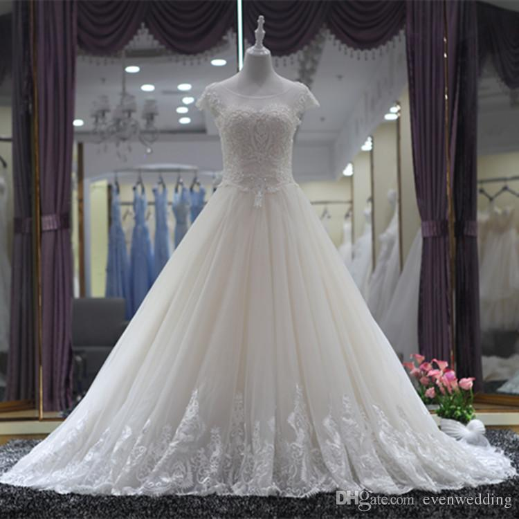 beaded scoop neck tulle ball gown wedding