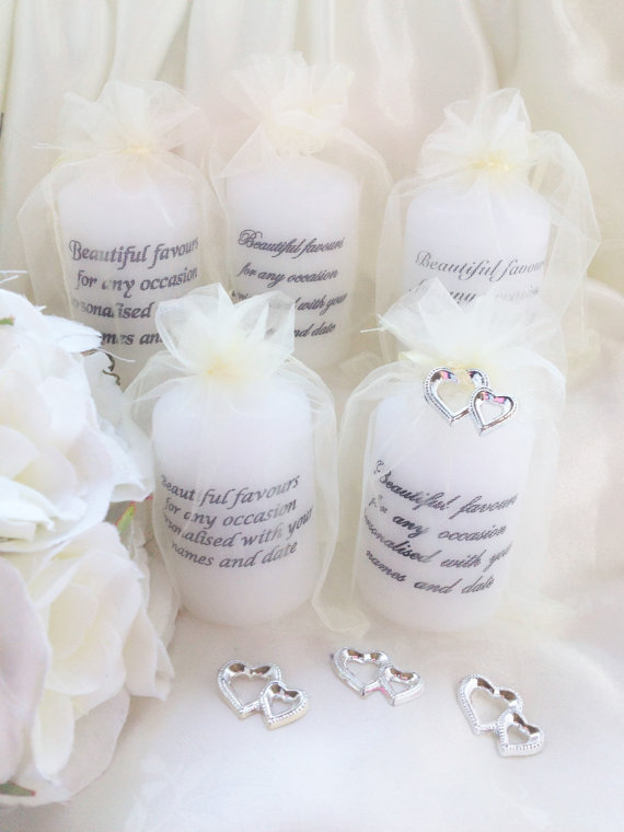 90 personalised candles wedding favours