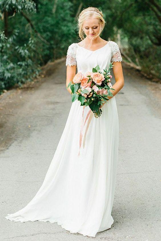 Chiffon A Line Wedding Dresses Unique A Line V Neck Short Sleeves Chiffon Wedding Dress with
