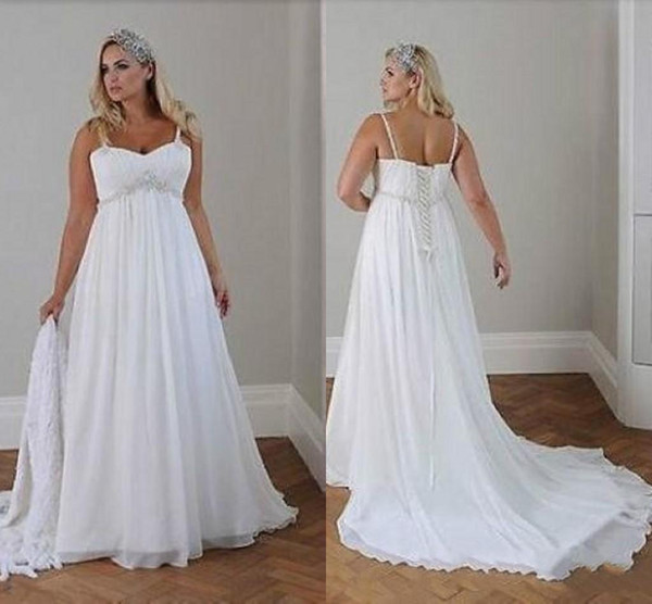 Chiffon Beach Wedding Dresses Beautiful Modest Plus Size Wedding Dresses Beach Wedding Chiffon A Line Floor Length Spaghetti Straps Lace Up Back Simple Elegant Boho Bridal Gowns Polka Dot