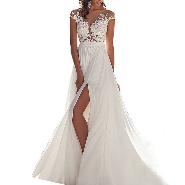Chiffon Beach Wedding Dresses New Discount Simple Scoop Chiffon Beach Wedding Dress 2016 Lace