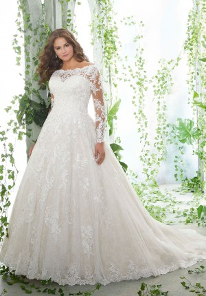 mori lee 3258 patience long sleeves plus size wedding dress 01 578