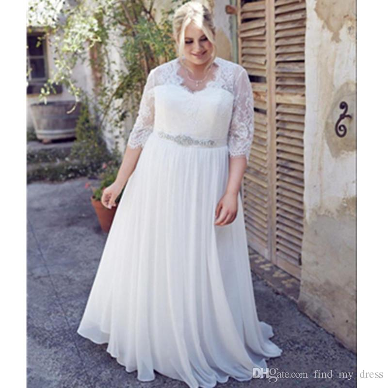 Chiffon Plus Size Wedding Dress Inspirational Discount Plus Size Wedding Dresses Chiffon Three Quarter Sleeve Beads A Line Sweep Train Lace Crystal Sash Bridal Gowns Charming See Through Elegant