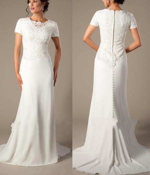 Chiffon Wedding Dresses with Sleeves Awesome Ivory Chiffon Informal Beach Mermaid Modest Wedding Dresses
