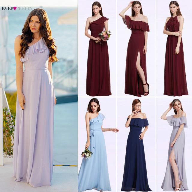 Bridesmaid Dresses Ever Pretty y e Shoulder Chiffon A line Ruffles Floor Length Belt Gowns 640x640