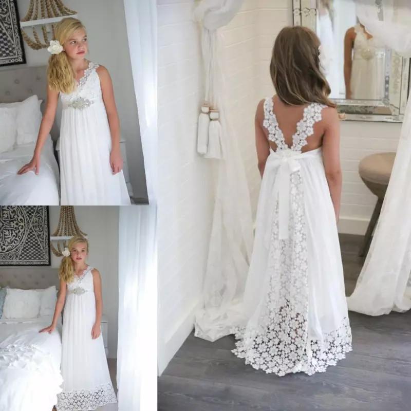 summer dresses for weddings on beach fresh 2018 lovely lace summer beach wedding flower girl dresses long girls