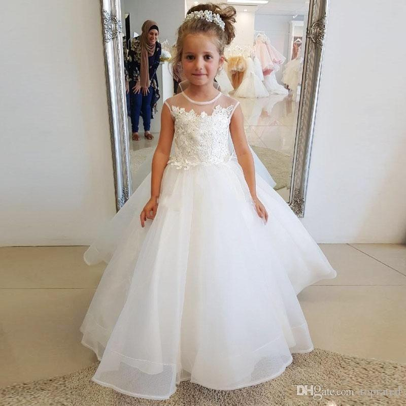Child Dresses for Wedding Unique 2019 Spring Flower Girls Dresses for Weddings Jewel Neck Sheer Lace Appliques Bead Girls Pageant Dress Tulle A Line Girls Party Gowns