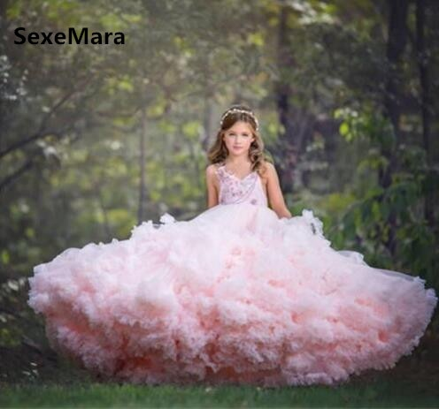 Cloud Pink Long Flower Girls Dresses for Wedding Kids Pageant Gown Girls Birthday Dress Evening Gowns