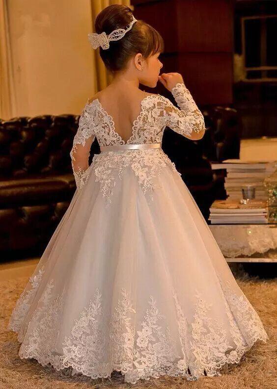 Children Wedding Dresses New White Lace Flower Girl Dresses Long Sleeves Kids Ball Gowns