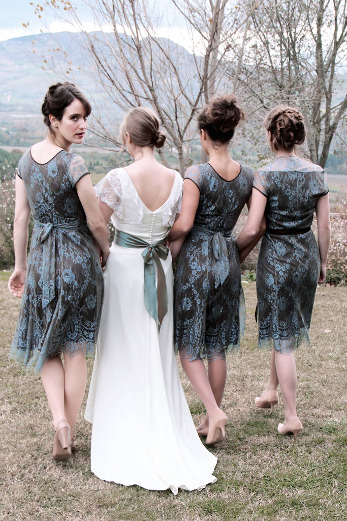 original winter blue and chocolate lace bridesmaid dresses