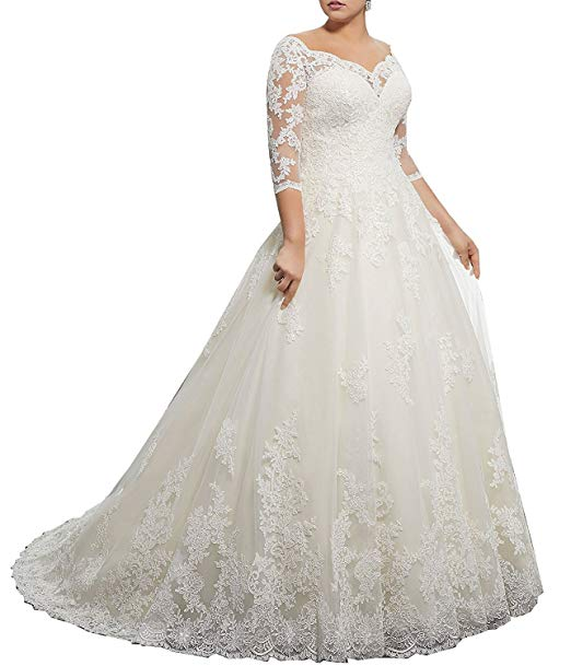 Classic Lace Wedding Dresses Elegant Women S Plus Size Bridal Ball Gown Vintage Lace Wedding Dresses for Bride with 3 4 Sleeves
