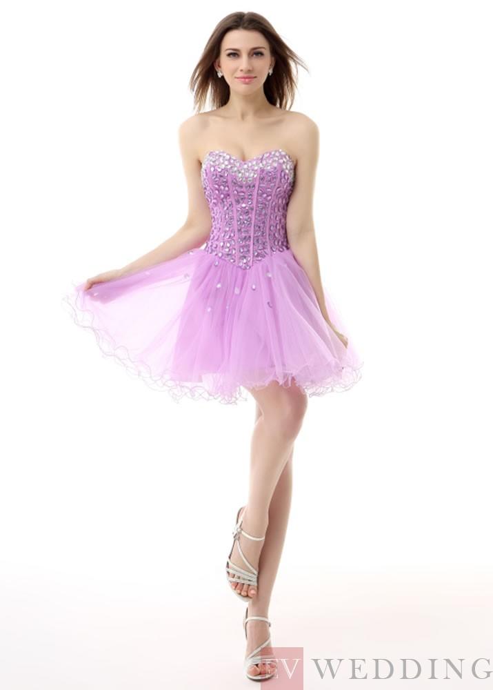 Elegant A Line Short Length Sweetheart Rhinestone Tulle Evening Dress OD