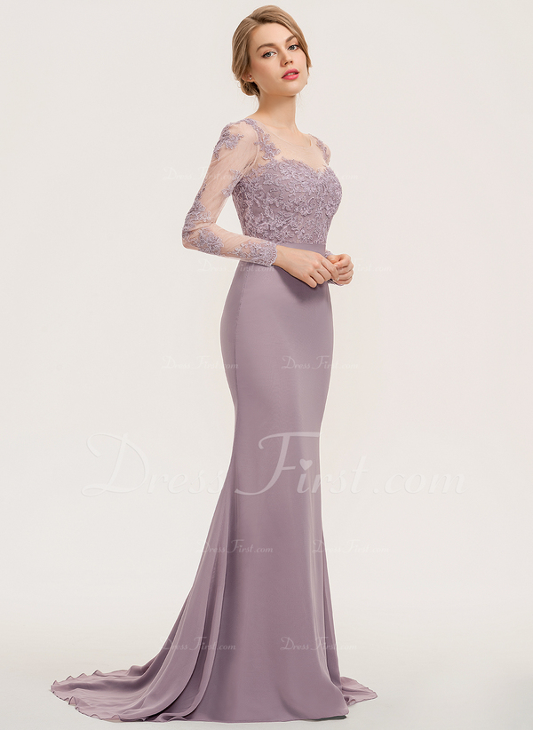 Clover Bridesmaid Dresses Lovely [us$ 174 99] Trumpet Mermaid Scoop Neck Sweep Train Chiffon Lace Bridesmaid Dress Jjshouse
