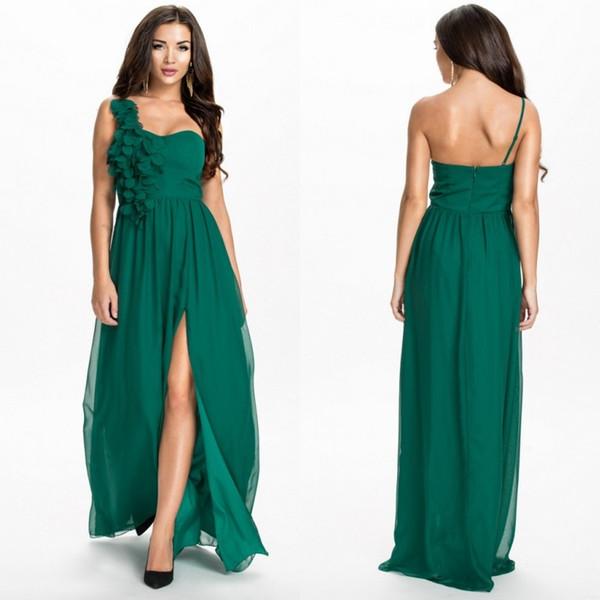 Clover Bridesmaid Dresses Unique Cheap Stunning Emerald Green Bridesmaid Dresses E Shoulder Strap with Flowers A Line Floor Length Chiffon Split Wedding Guest Dress as Low as