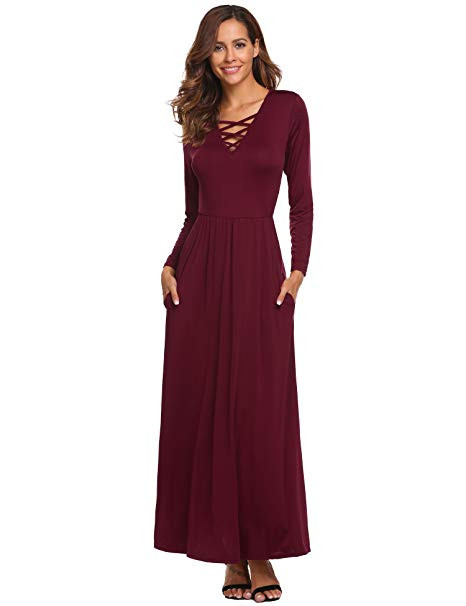 long sleeve cocktail dress for wedding od lover women s casual long sleeve criss cross v neck ruffle maxi unique