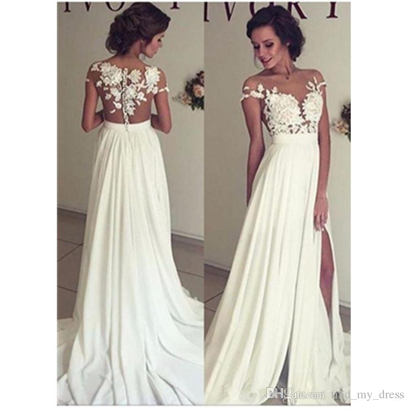 Column Sheath Wedding Dresses Elegant Empire Sheath Wedding Dresses Short Sleeve Bridal Gown Transparent Side Split Y Custom Made New Appliques White Ivory Fashion Vestidos Lace Bridal