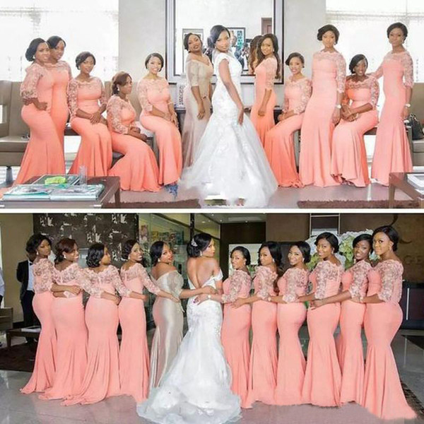 Coral Gables Wedding Dresses Luxury Arabic African Coral Peach Blush Long Bridesmaid Dresses with Half Sleeves Plus Size Lace Mermaid Party Dress Beautiful Bridemaid Dresses Lace