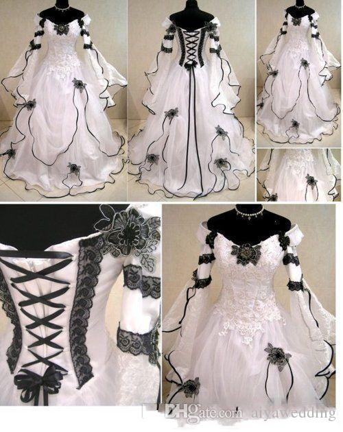vintage plus size gothic a line wedding dresses