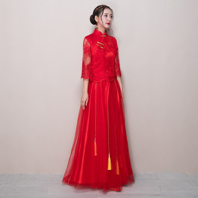 High discounts Red Chinese Wedding Dress Modern Qipao Traditional Dress Long Sleeve Cheongsam Oriental Evening Dresses Dragon Embroidery Abiye 3f0D wpv0