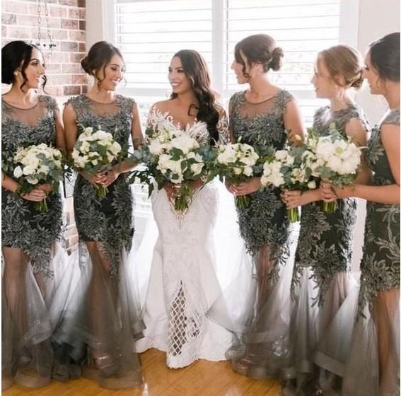 Country Wedding Guest Dresses Inspirational Gorgeous Lace Applique Country Wedding Guest Dresses Long Tiered Skirt Tulle Sheer Neckline Bridesmaid Dresses Vextido De Fiesta Cheap 2019 Childrens