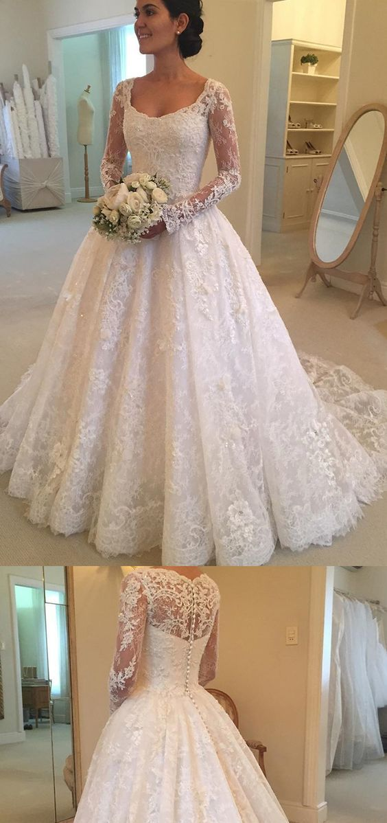 Court Train Wedding Dress Awesome Ball Gown Square Neck Long Sleeves Court Train Lace Wedding