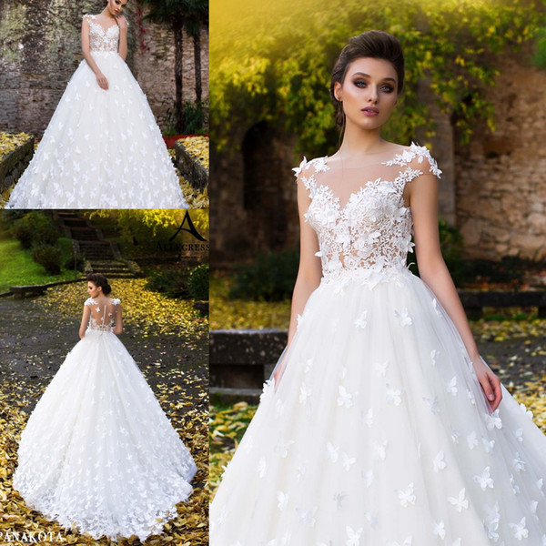 Court Train Wedding Dress Beautiful Discount Stunning White Ball Gown Wedding Dresses Sheer Neck button Back Court Train with Handmade butterfly Bridal Gowns Vestido De Novia Bridal