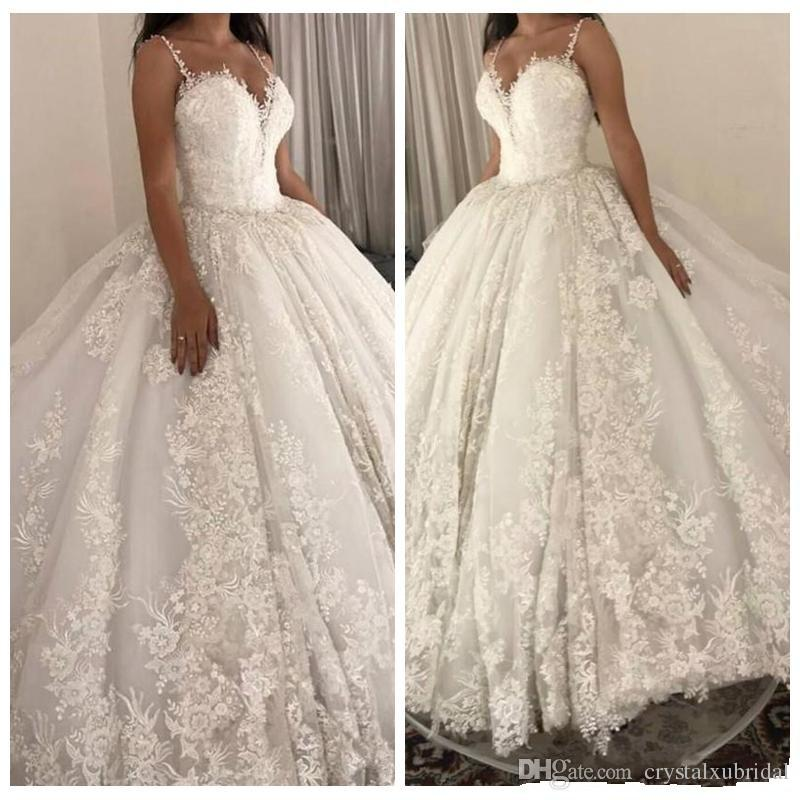 Court Train Wedding Dress Elegant 2019 New Luxury A Line Wedding Dresses Spaghetti Lace Appliques Sleeveless Backless Ball Gown Court Train Plus Size Custom Bridal Gowns