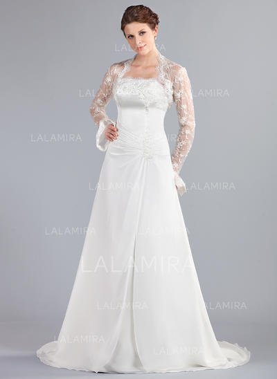 Court Train Wedding Dress Elegant A Line Princess Strapless Court Train Wedding Dresses with Ruffle Lace Beading