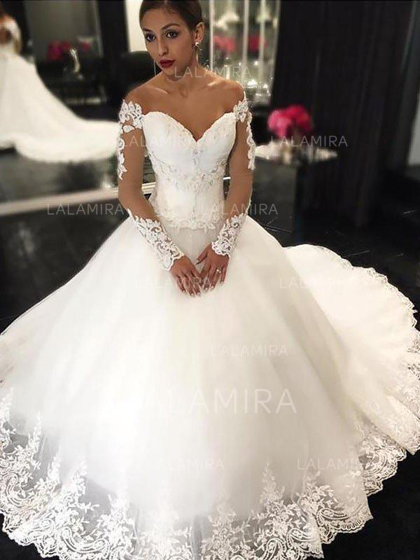 Court Train Wedding Dress Luxury Stunning F the Shoulder Ball Gown Wedding Dresses Court Train Tulle Long Sleeves