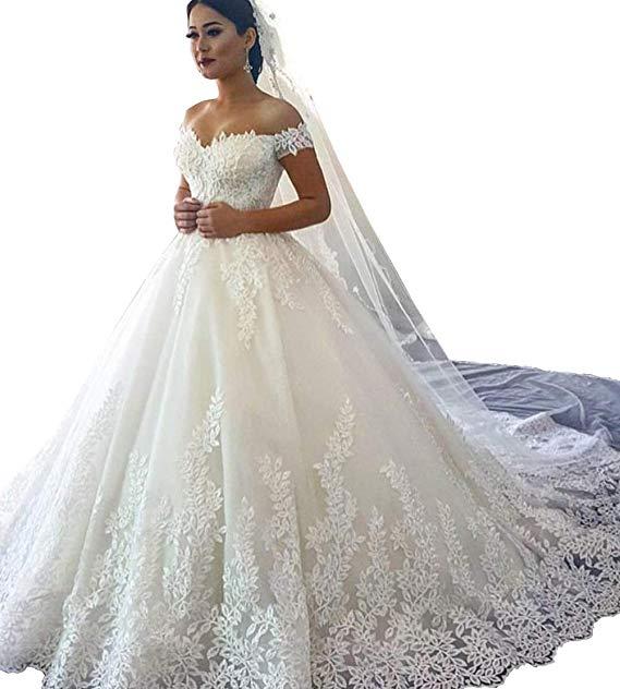 Court Train Wedding Dress New Roycebridal Ball Gown Wedding Dresses for Bride F Shoulder