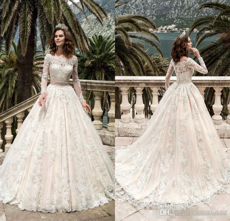 2017 stunning full sleeves lace wedding dresses