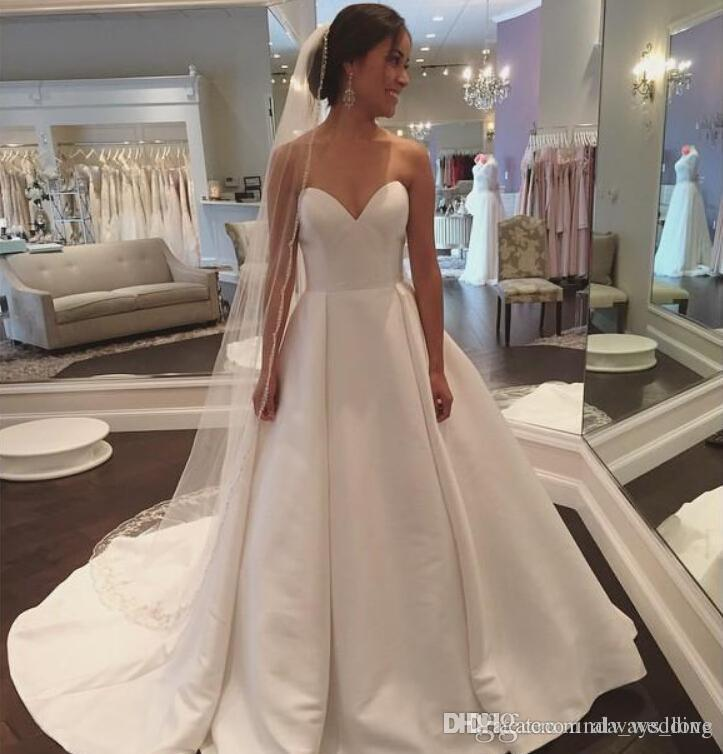 2018 new plain designed wedding dress a line