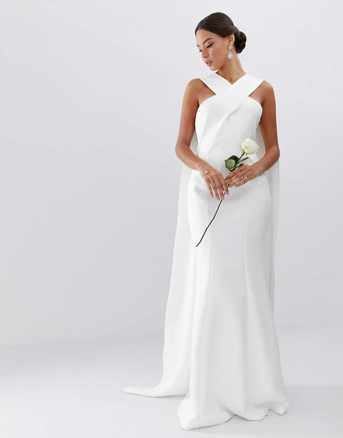 Asos Edition EDITION cross front cape wedding dress