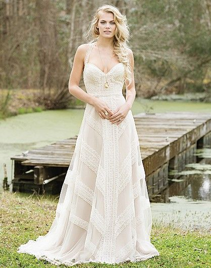 Crochet Wedding Dresses Elegant Crocheted Lace Creates A Geometric Pattern On This Halter