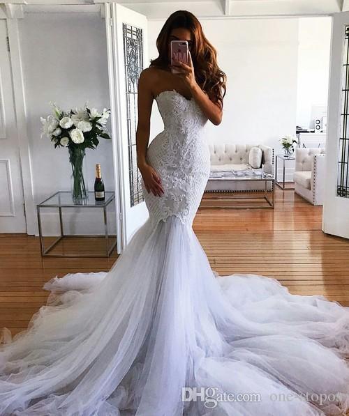 sweetheart wedding gowns elegant modest mermaid wedding dress 2018 latest fashion bridal gowns custom
