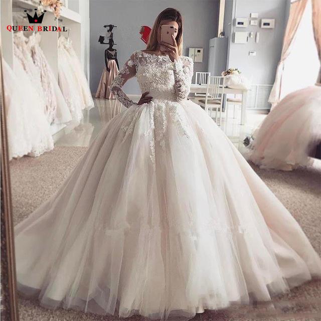Custom Made Princess Long Sleeve Fluffy Lace Beading Luxury Plus Size Wedding Dresses Wedding Gown 2018 640x640