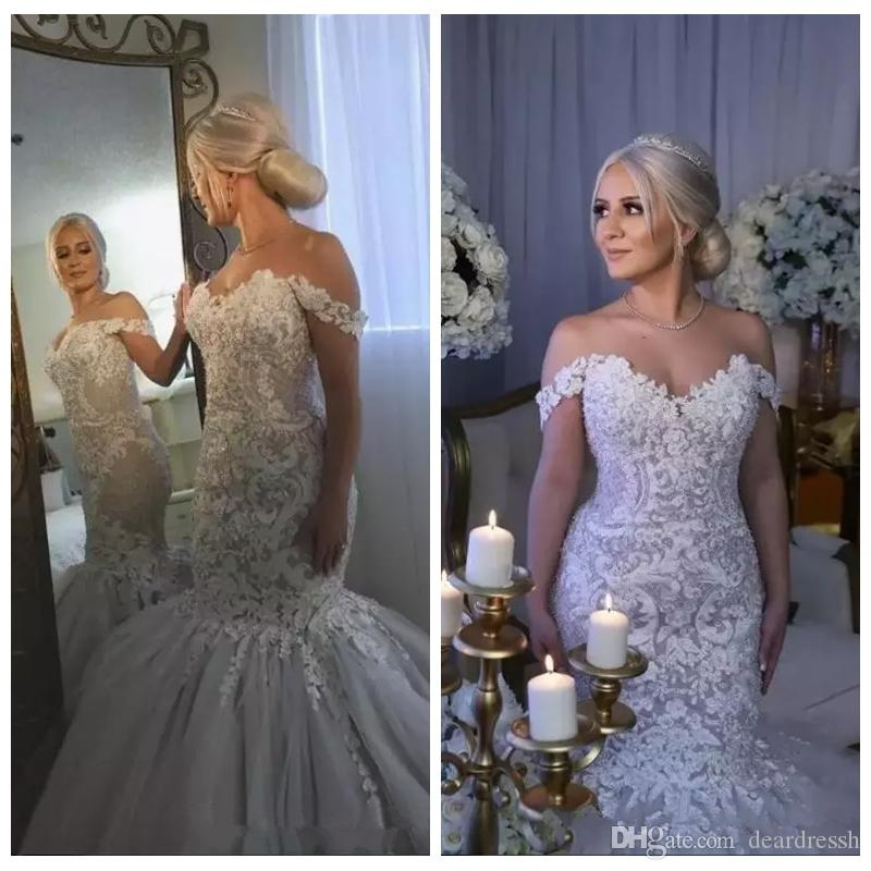 Custom Wedding Dresses Lovely 2019 New Mermaid Wedding Dresses Lace Appliques Slim F Shoulder Sweep Train Garden Custom Wedding Dress formal Bridal Gowns Vestidos