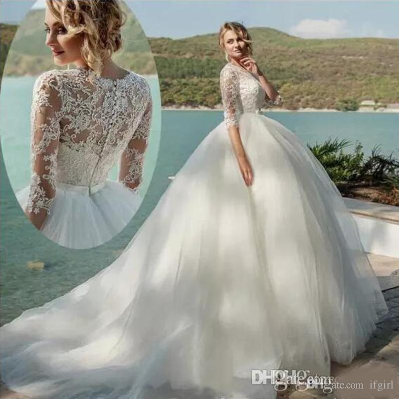 Cute Cheap Wedding Dresses New Elegant 2019 Jewel Neck Lace Ball Gown Wedding Dresses Half Sleeve Appliques See Through Back Long Custom Made Wedding Dress